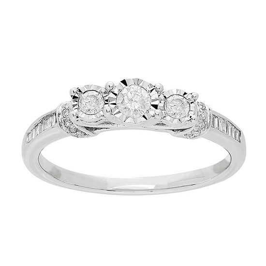 Womens 1 3 Ct Tw Genuine White Diamond 10k White Gold Engagement Ring