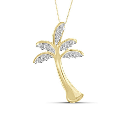 Womens Diamond Accent White Diamond 14K Gold Over Brass Round Pendant Necklace
