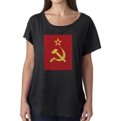 Los Angeles Pop Art Women's Loose Fit Dolman Cut Word Art Shirt - Lyrics to the Soviet National Anthem