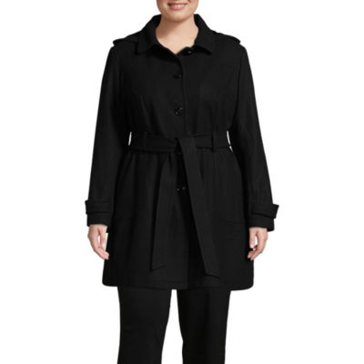 Liz Claiborne Belted Heavyweight Overcoat Plus