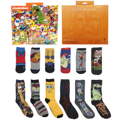 12 Days of Socks Gift Box Nickelodeon Crew Socks-Mens