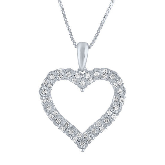Womens 1 4 Ct Tw Genuine White Diamond Sterling Silver Heart Pendant Necklace