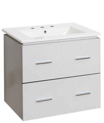 23.75-in. W Wall Mount White Vanity Set For 3H8-in. Drilling