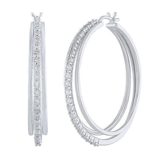 1/10 CT. T.W. Genuine White Diamond Sterling Silver 41mm Hoop Earrings