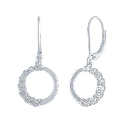 1/10 CT. T.W. Genuine White Diamond Sterling Silver Drop Earrings