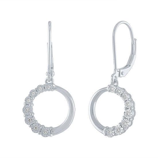 1 10 Ct Tw Genuine White Diamond Sterling Silver Drop Earrings