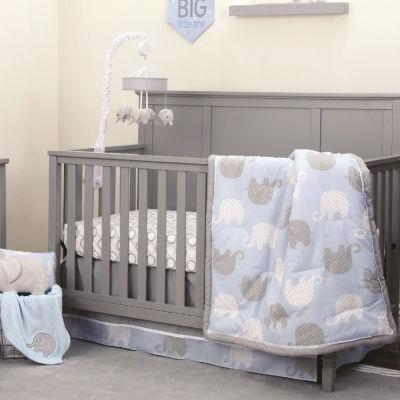 Nojo Blue Elephant 4-PC Crib Bedding Set