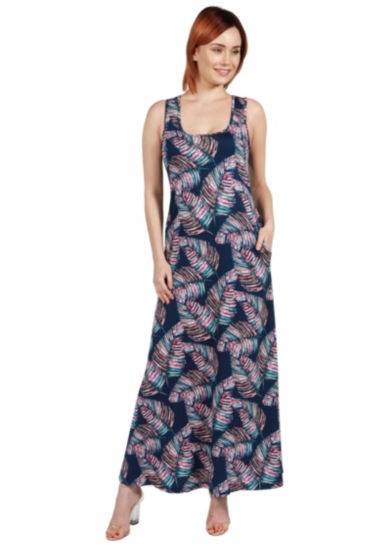24Seven Comfort Apparel Taylor Blue Feather PrintMini Dress - Plus
