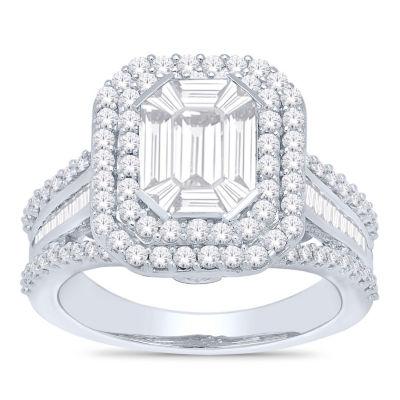 Womens 2 CT. T.W. White Diamond 14K White Gold Engagement Ring