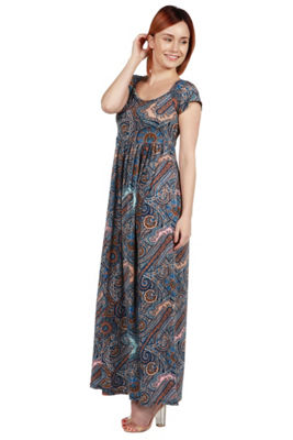 24Seven Comfort Apparel Deena Black and White Empire Waist Maxi Dress - Plus