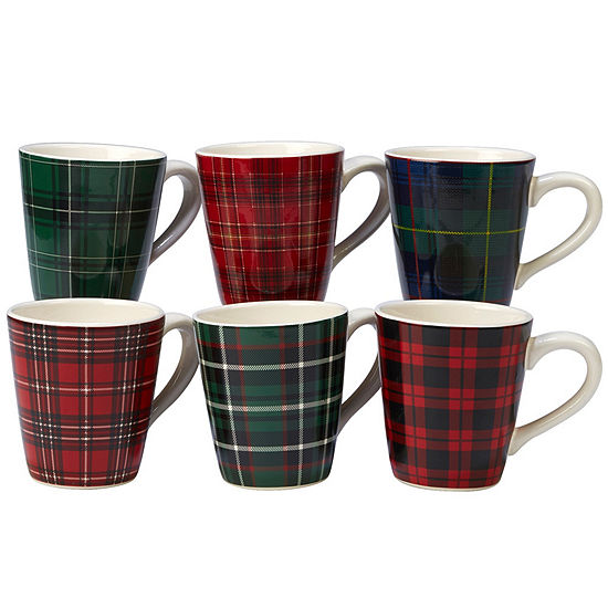 Certified International Christmas Plaid 6-pc. Coffee Mug