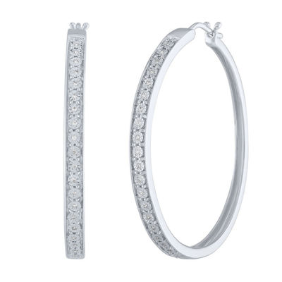1/10 CT. T.W. Genuine White Diamond Sterling Silver 40mm Hoop Earrings
