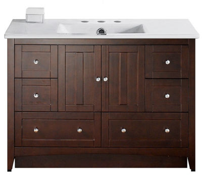 48-in. W Floor Mount Walnut Vanity Set For 3H8-in.Drilling