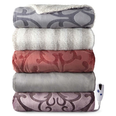 Biddeford Embossed Velour Reverse to Sherpa Heated Throw