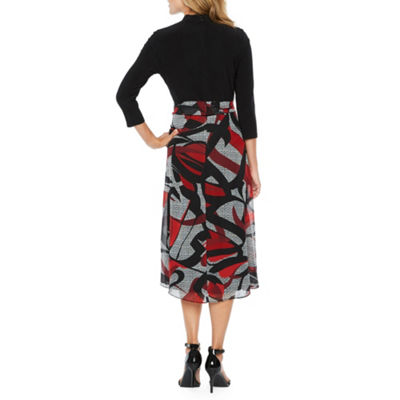 Be by CHETTA B 3/4 Sleeve Abstract Fit & Flare Dress
