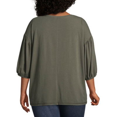 Boutique + 3/4 Sleeve Crew Neck Knit Blouse - Plus