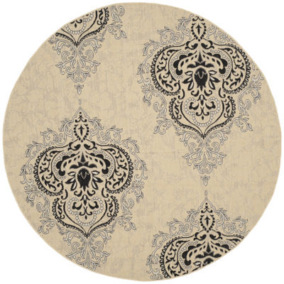Safavieh Courtyard Collection Dedrick Medallion Indoor/Outdoor Round Area Rug