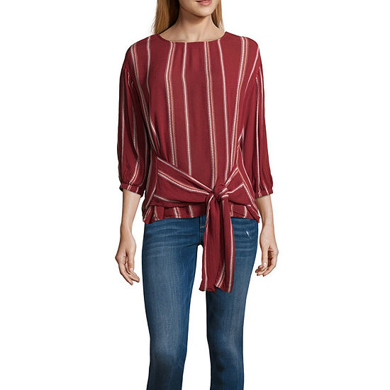 a.n.a Ana Tie Front Striped Top Womens Crew Neck 3/4 Sleeve Embroidered Blouse