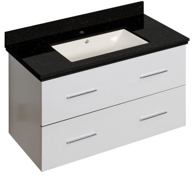 36-in. W Wall Mount White Vanity Set For 1 Hole Drilling Black Galaxy Top Biscuit UM Sink