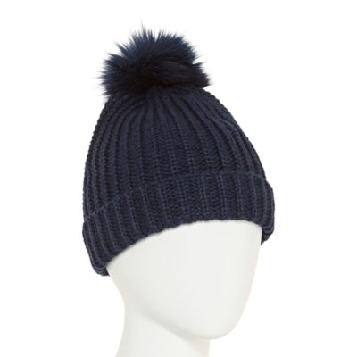 City Streets Knit Beanie with Faux Fur Pom