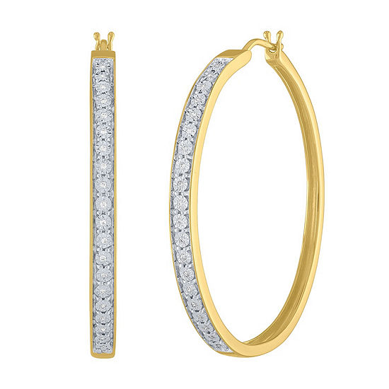 1/10 CT. T.W. Genuine White Diamond 14K Gold Over Silver 40mm Hoop Earrings
