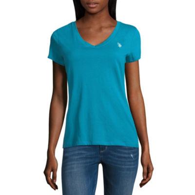 Us Polo Assn. Short Sleeve V Neck T-Shirt-Womens Juniors