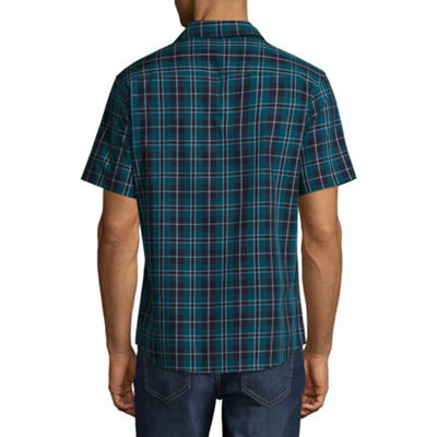 Claiborne Short Sleeve Novelty Button-Front Shirt