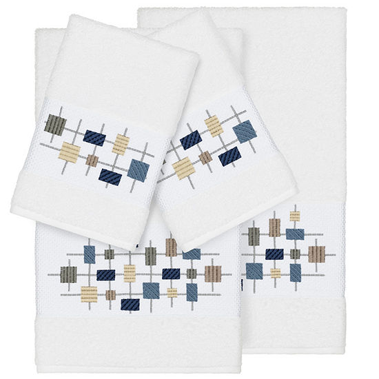Linum Home Textiles 100% Turkish Cotton Khloe 4PC Embellished Towel Set