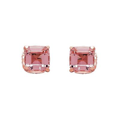 Emerald Pink Morganite Gold Over Silver Stud Earrings
