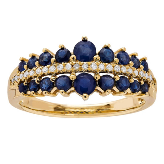 Womens Blue Sapphire 10K Gold Cocktail Ring