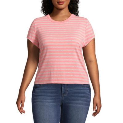 Arizona Womens Crew Neck Short Sleeve Graphic T-Shirt-Juniors Plus