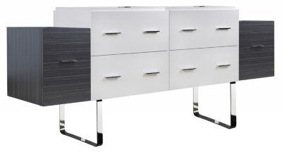 76-in. W 18-in. D Modern Plywood-Veneer Vanity Base Set Only In White-Dawn Grey