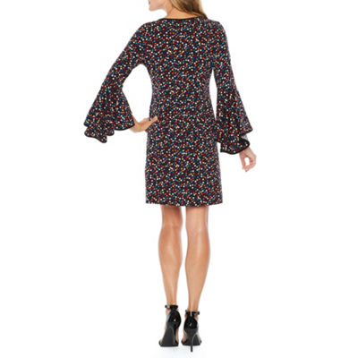 MSK 3/4 Bell Sleeve Dot Shift Dress