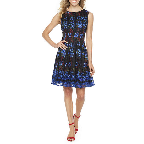 Danny & Nicole Sleeveless Floral Midi Fit & Flare Dress