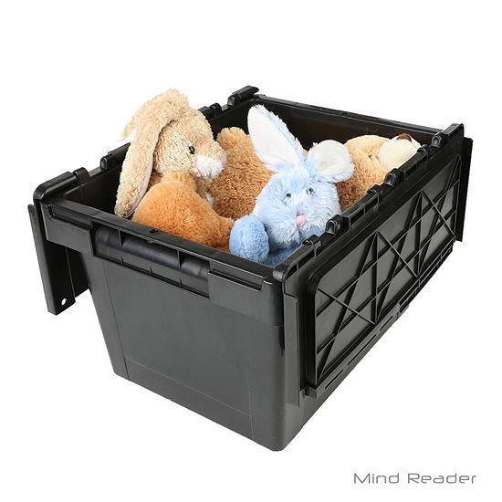 Mind Reader Heavy Duty Plastic Crate Storage Bin, Black