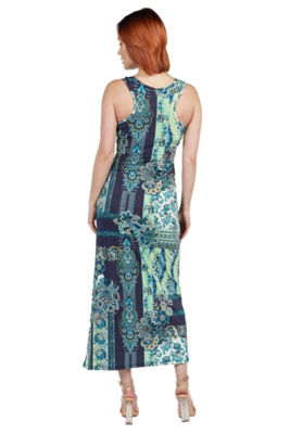 24Seven Comfort Apparel Kathy Red Floral Maxi Dress - Plus