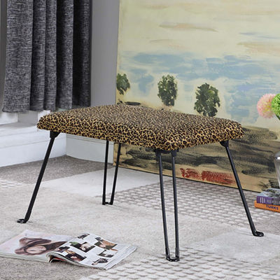 "Ore International 17"" Leopard Backless Accent Seat with Foldable Legs"