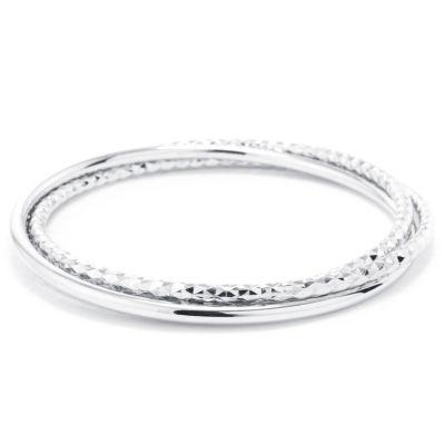 Hoop Earrings Bangle Bracelet Womens 3-pc. Sterling Silver Bracelet Set