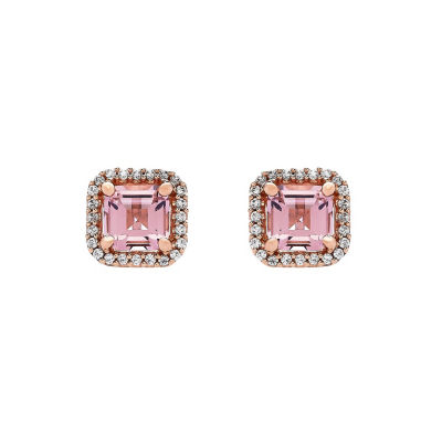 Simulated Pink Morganite 18K Rose Gold Over Silver Stud Earrings