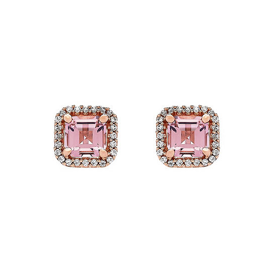 Simulated Pink Morganite 18K Rose Gold Over Silver Stud Earrings