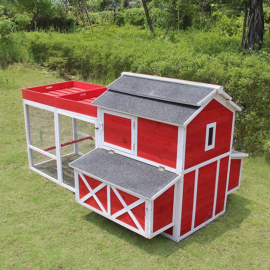 Zoovilla Red Barn Chicken Coop With Rooftop Planter