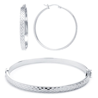 Hoop Earrings And Bangle Bracelet Sterling Silver 2-pc. Jewelry Set