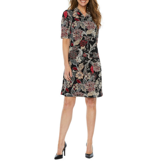 Perceptions Short Sleeve Floral Puff Print Shift Dress