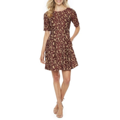 Danny & Nicole Short Sleeve Lace Scroll Fit & Flare Dress