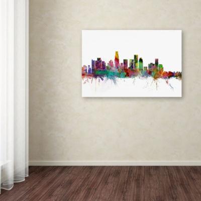 Trademark Fine Art Michael Tompsett Los Angeles California Skyline Giclee Canvas Art