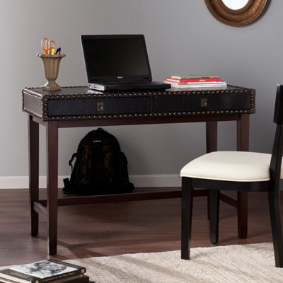 Home Decor Collections Rinaldi Faux Leather Writing Desk