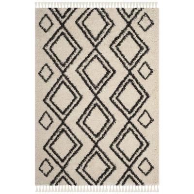Safavieh Moroccan Fringe Shag Collection Horgan Geometric Square Area Rug