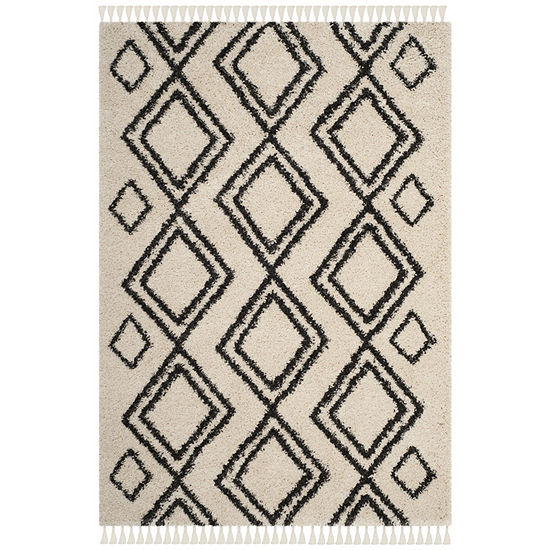 Safavieh Moroccan Fringe Shag Collection Horgan Geometric Square Area Rug