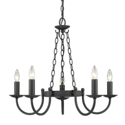 Golden Lighting Diaz 5 Light Chandelier in Black Iron