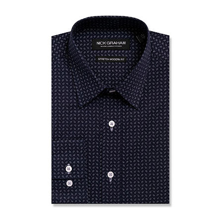 Nick Graham Everything Fitted Long Sleeve Dress Shirt, 15-15.5 34-35, Blue
